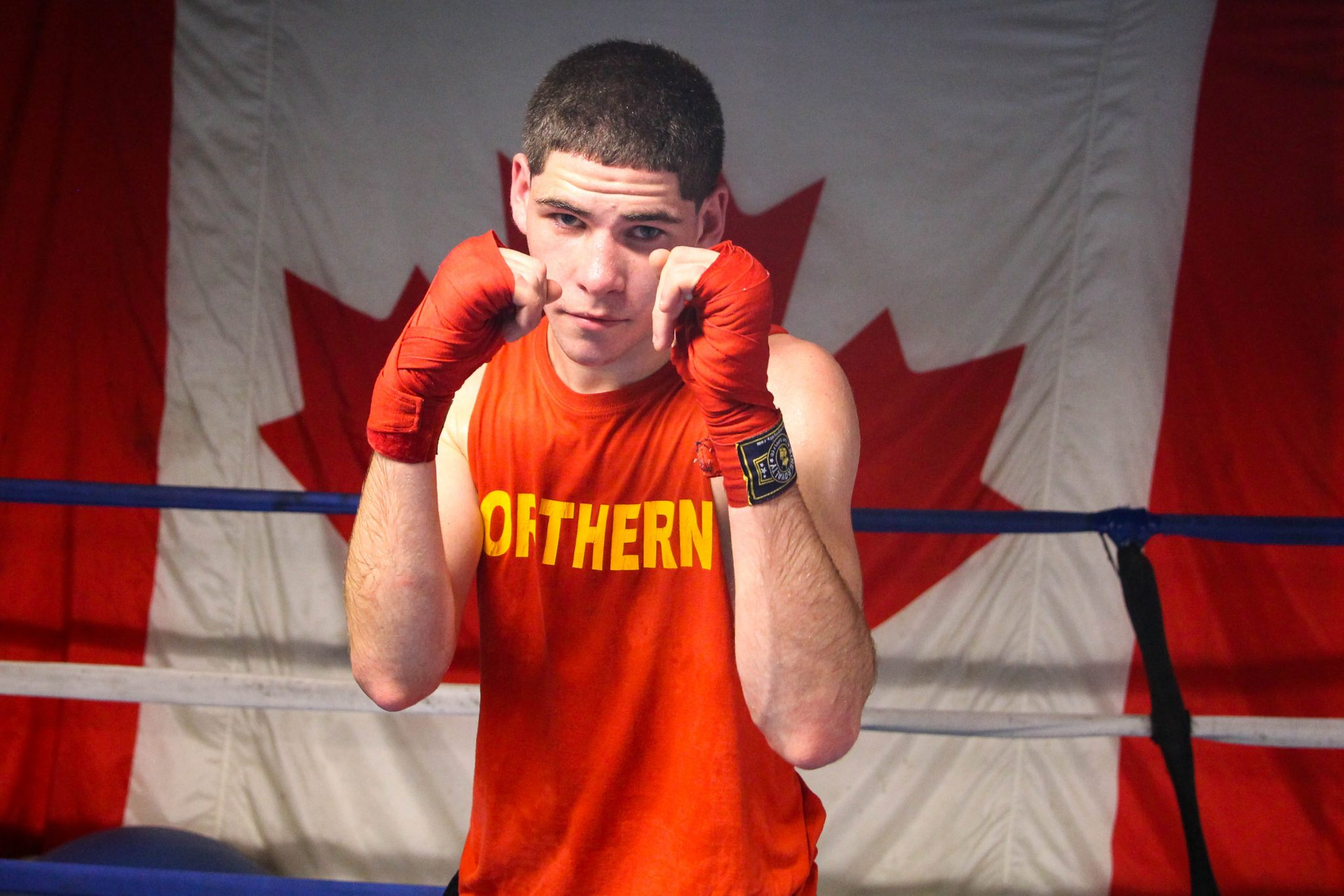 Up-and-coming boxer, Graeme Matthews, at Sully's Boxing Gym. Reppin' Canada. Luke Galati Photograhy