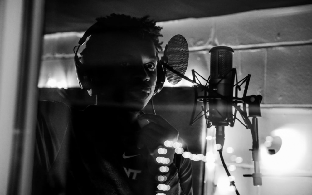 Jonathan Kabongo in the booth in the studio, downtown Toronto 2018