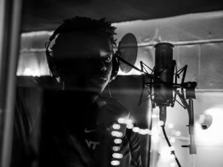 Jonathan Kabongo in the recording studio, December 2018.