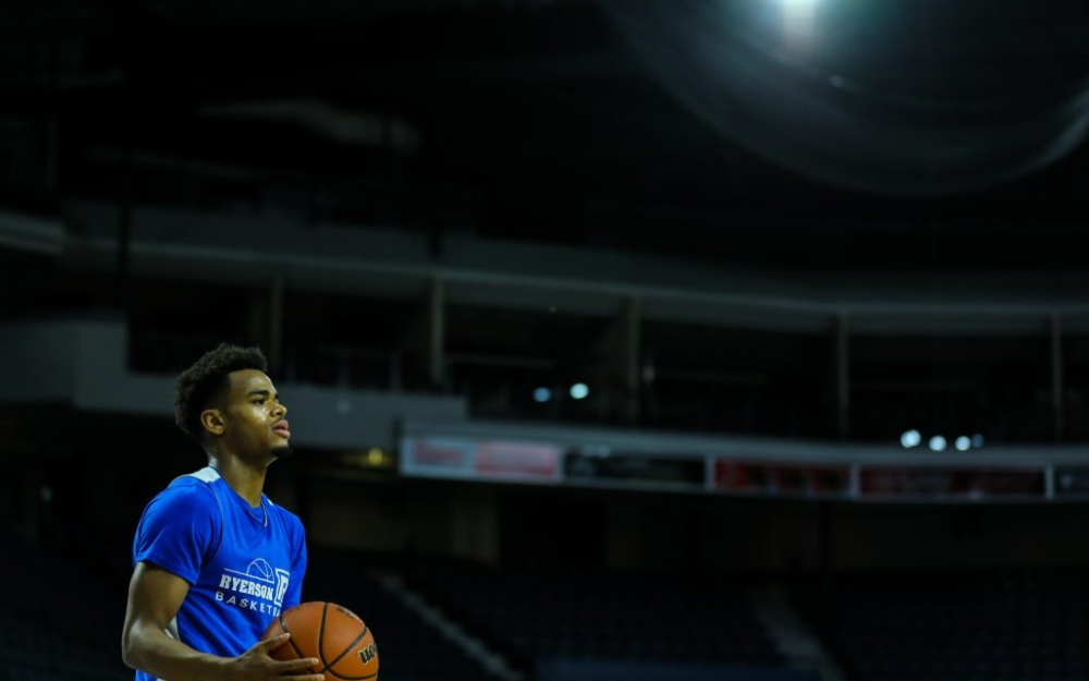 Myles Charvis, Ryerson Rams point guard, in Halifax at the uSports national championship. Photo by Luke Galati