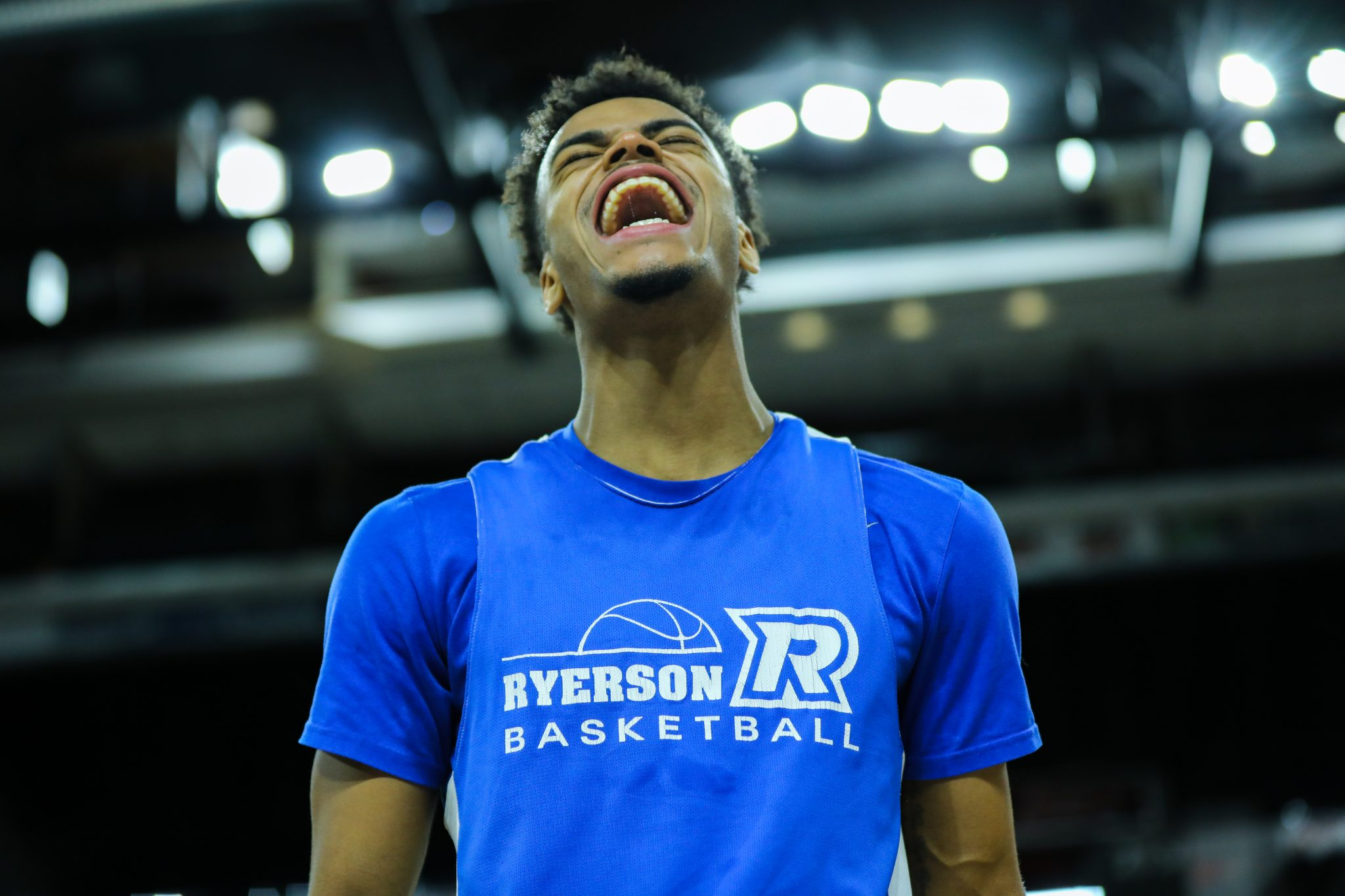 Ryerson Ram, Myles Charvis, screams in exclamation during a practice in Halifax at the National Championship. By Luke Galati