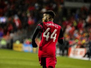 Raheem Edwards makes his MLS debut with Toronto FC at BMO Field. Photo taken by Luke Galati