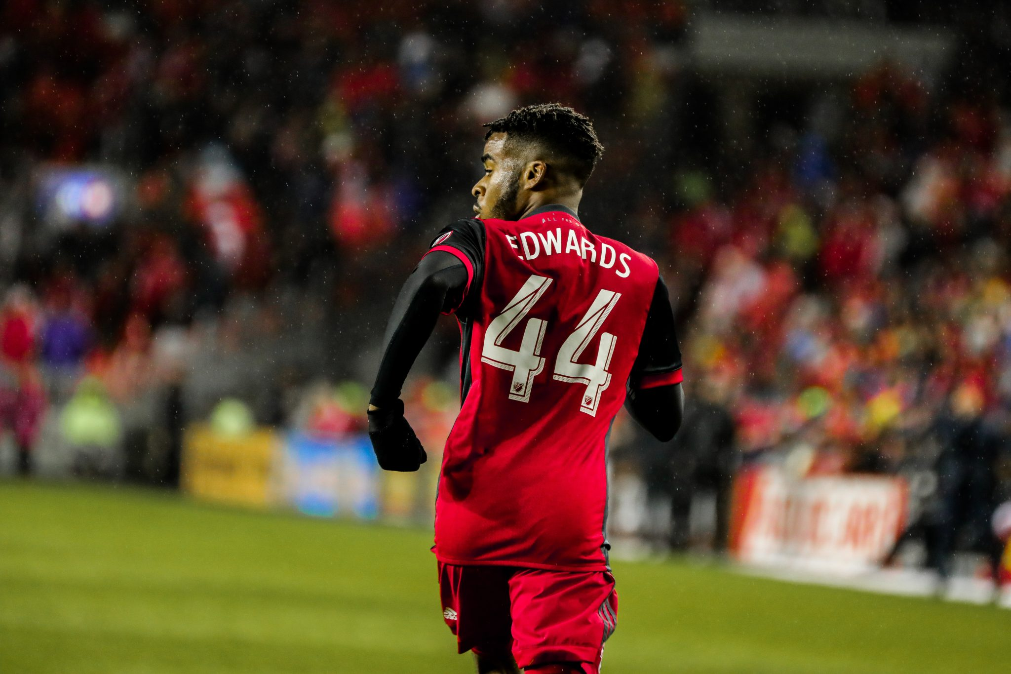 Raheem Edwards makes his MLS debut with Toronto FC at BMO Field. Photo taken by Luke Galati