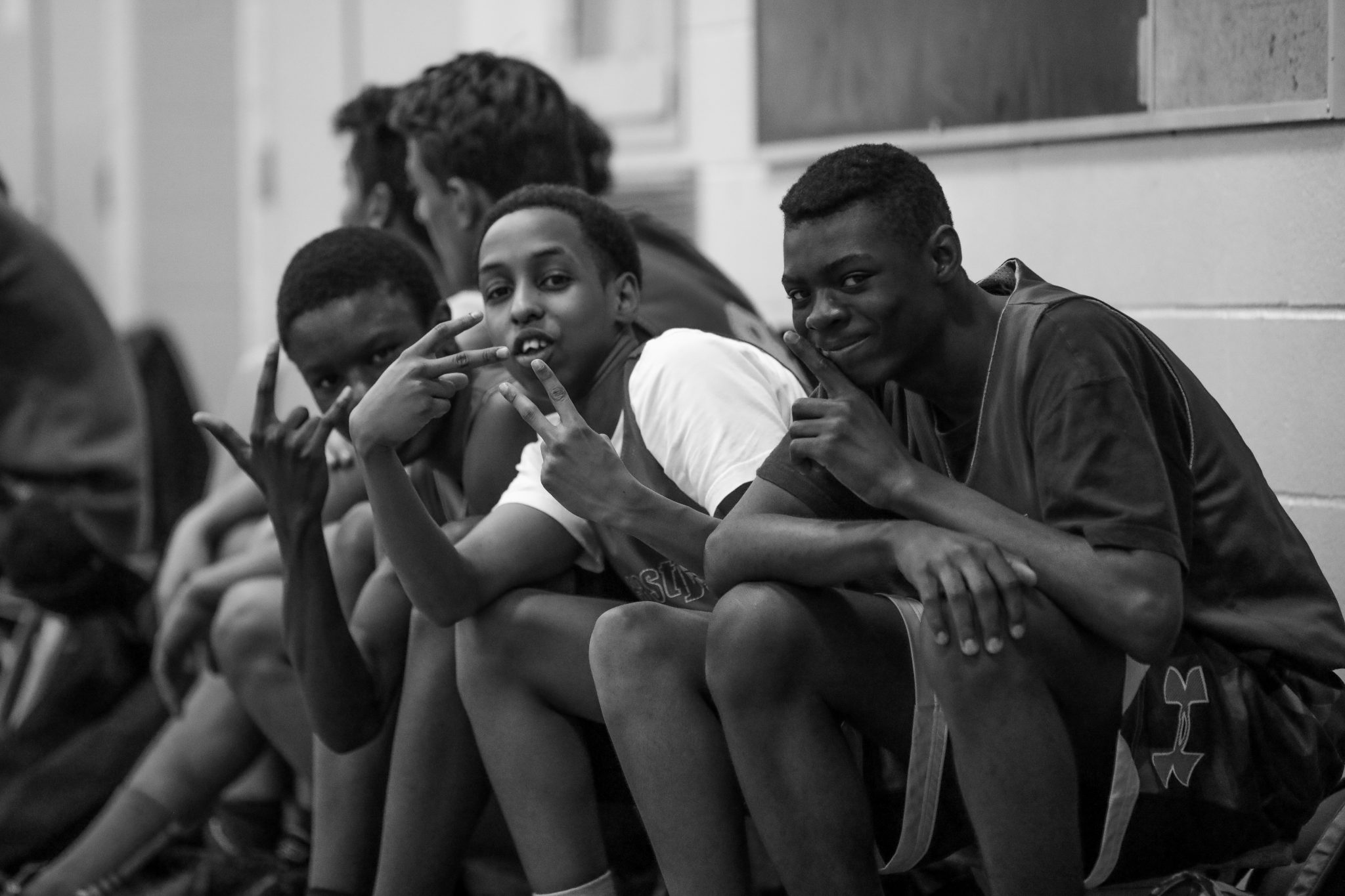 East York Basketball. Mohammed, Haron and Jeff at the end of a game. Shot by Luke Galati