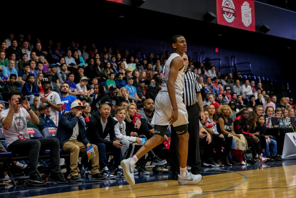 Nickeil Alexander-Walker after scoring a three at the 2017 BioSteel High School All Canadian Basketball Game. Luke Galati Photography