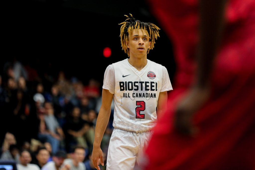 Canadian Basketball Prospect, Jaelin Llewellyn playing at the 2017 BioSteel All Canadian Game. Shot by Luke Galati