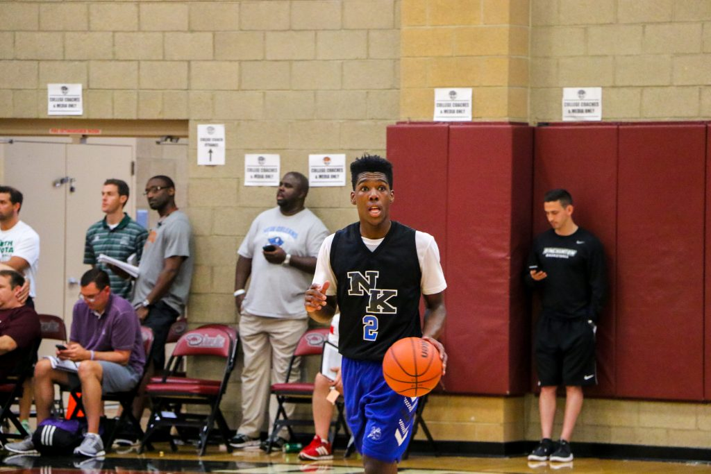 Marcus Carr dribbles the ball up the court during the summer AAU circuit. Marcus will be attending the University of Pittsburgh next season playing NCAA ball. Luke Galati Photography/King Nation Basketball