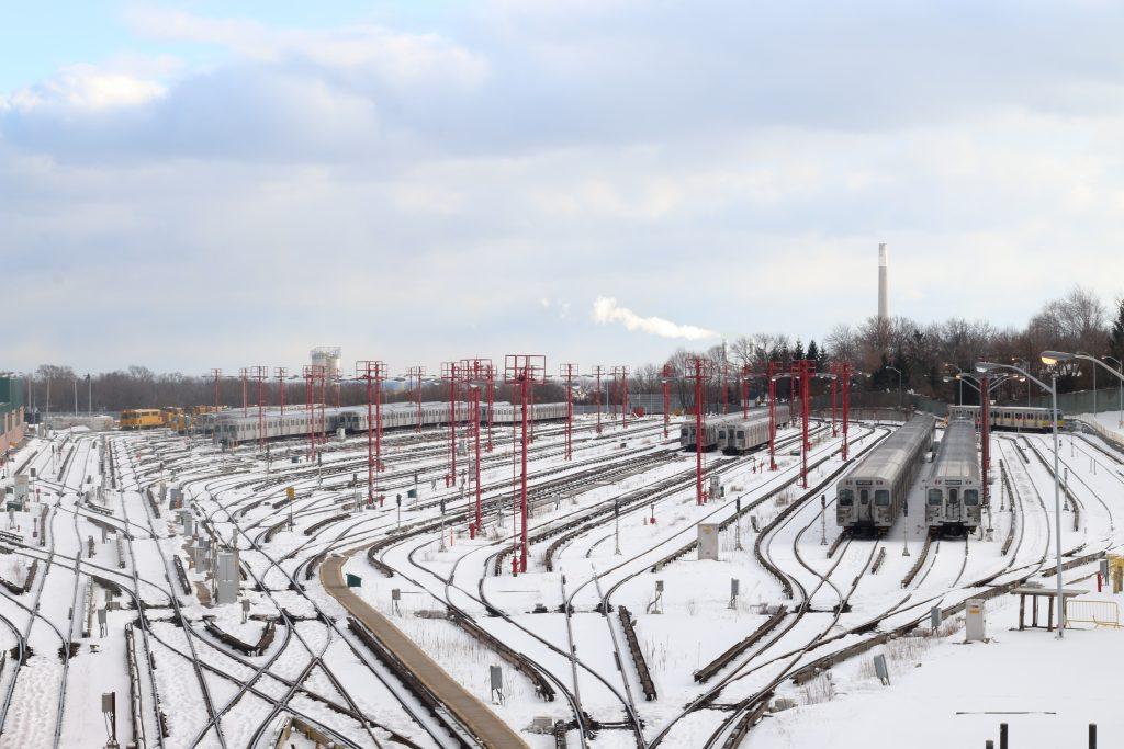 Toronto's Greenwood Yard. TTC trains parked in the winter. Luke Galati Photography