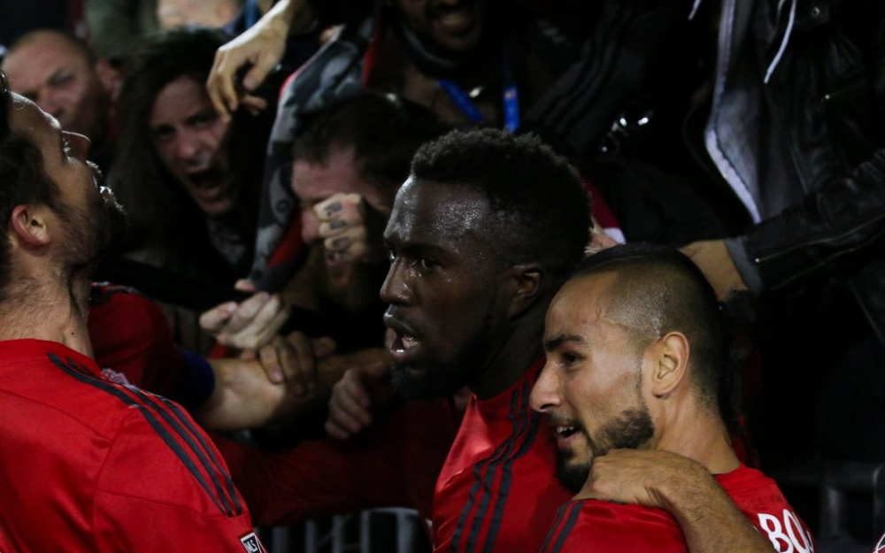 Jozy Altidore runs into BMO Field's supports section after scoring for TFC. Photo by Luke Galati