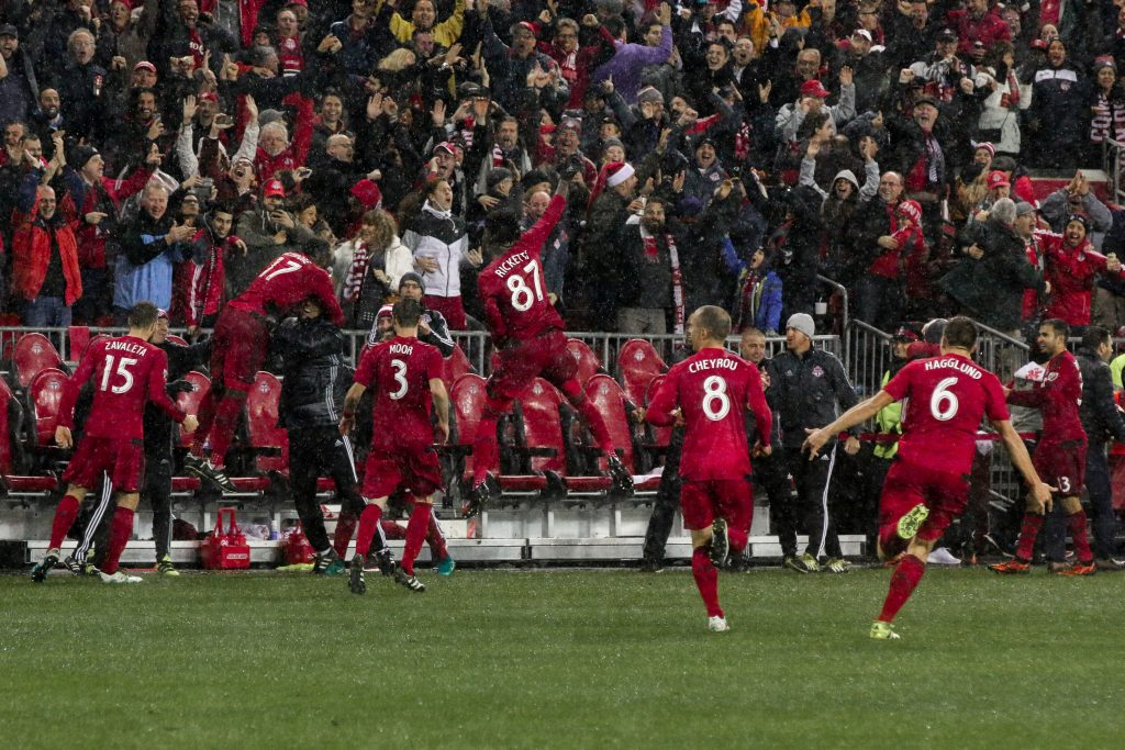 Toronto FC celebrates after Tosaint Ricketts scores to seal TFC's ticket to the MLS Cup. Luke Galati Photography