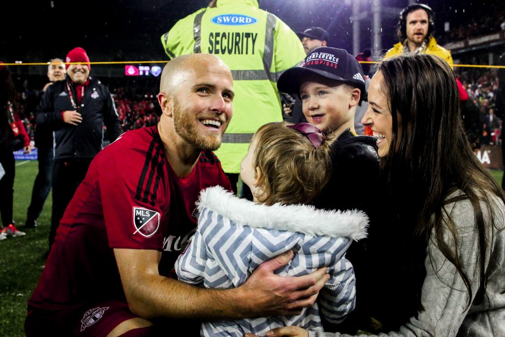 TFC captain, Michael Bradley, and his family celebrate together after the 2016 Eastern Conference Championship game. Luke Galati Photography/SB Nation's Waking the Red