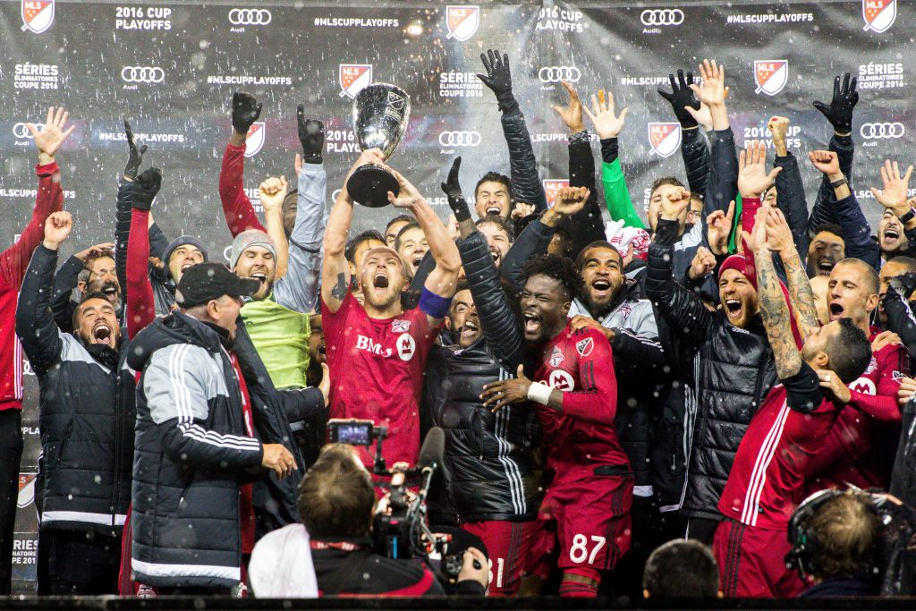 Toronto FC celebrate winning the Eastern Conference Title at BMO Field in an incredible, glorious game against the Montreal Impact. Luke Galati Photography/Waking the Red