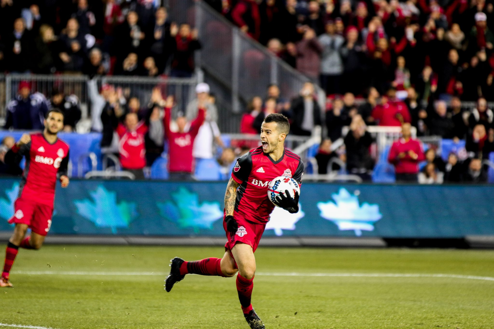 Sebastian Giovinco celebrates after scoring for TFC. Luke Galati/Toronto FC
