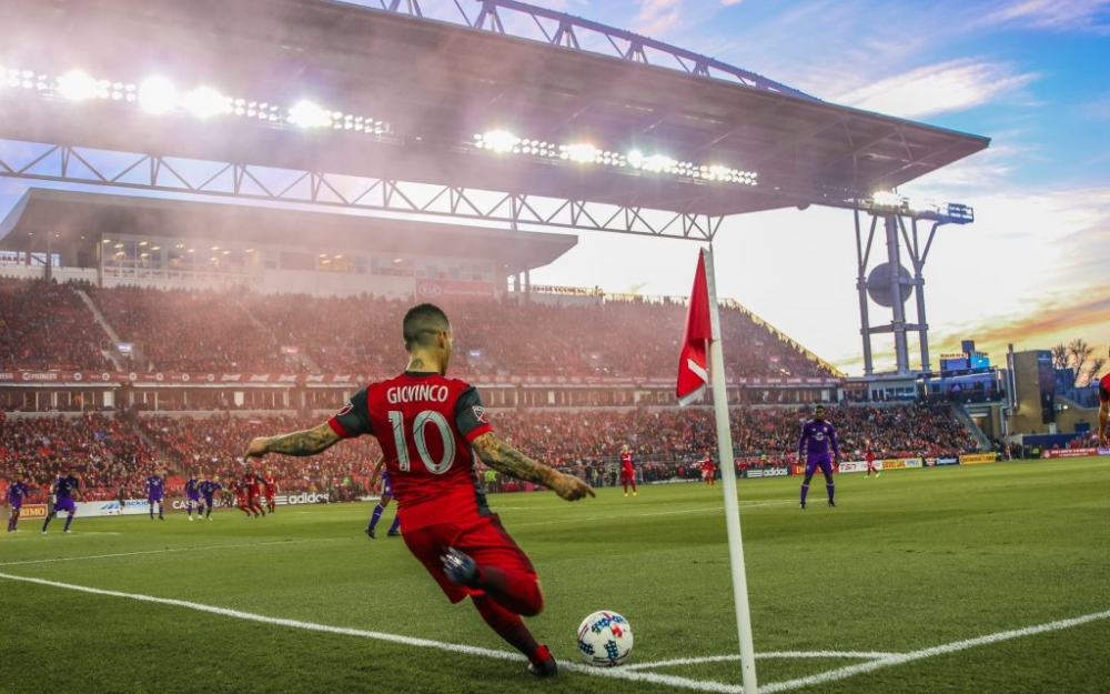 Sebastian Giovinco kicks the corner kick at BMO Field. Photo by Luke Galati/TFC