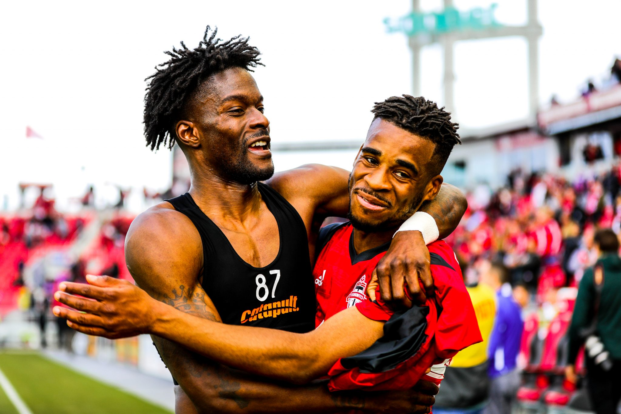 Tosaint Ricketts and Raheem Edwards come together after Toronto FC win their sixth straight game. Luke Galati/Toronto FC 2017